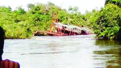 Sunken dredge in the Mazaruni river