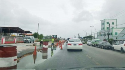 Ongoing works on the East Bank Demerara road
