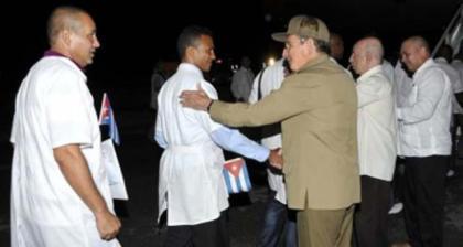 Cuban Medical Brigade leaving Cuba