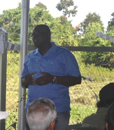 Chief Executive Officer of the Guyana LIvestock Development Authoority, Nigel Cumberbatch while addressing the gathering
