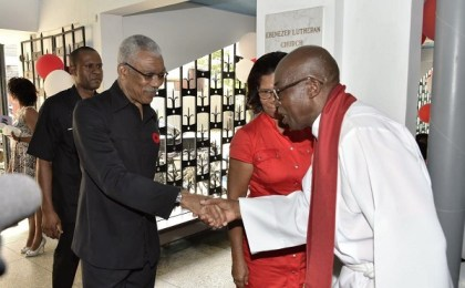 President David Granger is welcomed by Reverend Leroy Nicholson, President, Evangelical Lutheran Church of Guyana, upon his arrival this morning