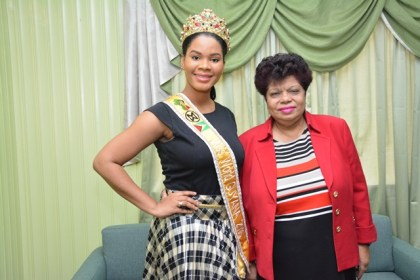 Minister of Social Cohesion, Ms. Amna Ally and Miss World Guyana 2016, Ms. Nuriyyih Gerrard