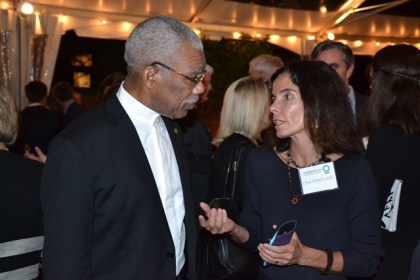 President David Granger chatting with Vice President of Conservation Policy, Ms. Lisa Famolare.