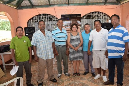 Minister within the Ministry of Indigenous Peoples' Affairs Valerie Garrido-Lowe (Centre) with Toshaos from the various villages in Region one that received jubilee Grants