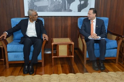 President David Granger in conversation with the Islamic Development Bank's Director of Country Programmes Department and Special Advisor to the Vice President, Mr. Mohammad Alsaati