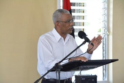 President David Granger addressing the bursary awardees at Congress Place, Sophia