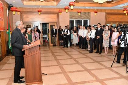 President David Granger addressing the gathering at the celebration held in honour of the 67th anniversary of the founding of the People's Republic of China, at the Chinese Embassy in Guyana, earlier this evening.