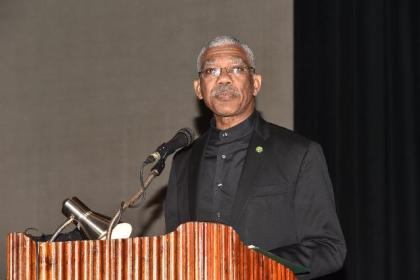 President David Granger delivering his address at the opening of the 13th Annual Conference of the Caribbean Area Network for Quality Assurance in Tertiary Education (CANQATE)