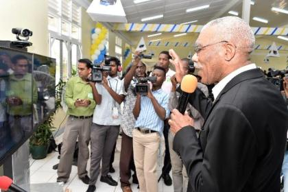 President David Granger interacting with students of the CPCE Centre in Berbice via SKYPE