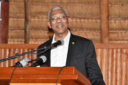 President David Granger addressing the elderly citizens of the Upper Demerara- Berbice (Region Ten) area, who attended a special luncheon today at the Umana Yana.