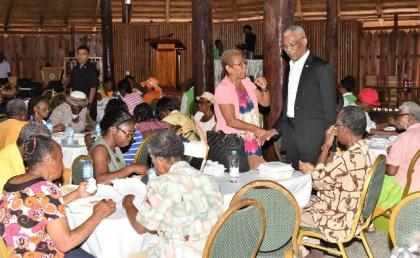 The President took the opportunity to greet each of the attendees at the Luncheon at the Umana Yana individually, after the conclusion of the event.