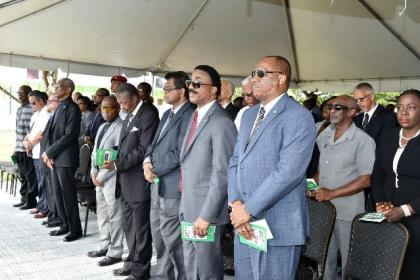 Speaker of the National Assembly, Dr. Barton Scotland, Acting Prime Minister and Minister of Foreign Affairs, Carl Greenidge and other Ministers of the Government, at the commemoration ceremony held earlier today.