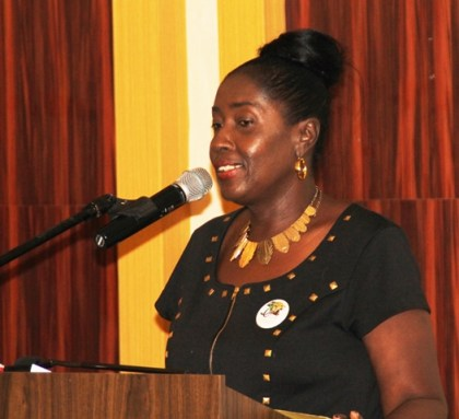 Minister within the Ministry of Communities, Valerie Adams-Patterson dueing brief remarks at the closing of the workshop at Pegasus, Georgetown.