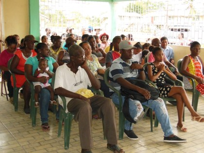 A section of the gathering of Timehri North residents at Saturday's meeting