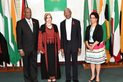 From left: Acting Minister of Foreign Affairs and Minister of State, Mr. Joseph Harmon, Ambassador Dr. Linda Sobeh-Ali, President David Granger and Director General of the Ministry of Foreign Affairs, Ambassador Audrey Waddell.