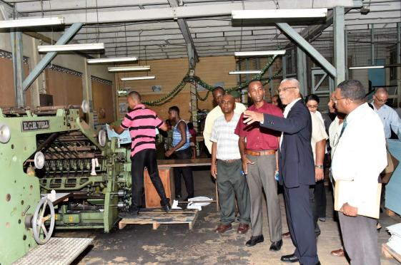 President David Granger inquiring about one of the machines that is currently in use