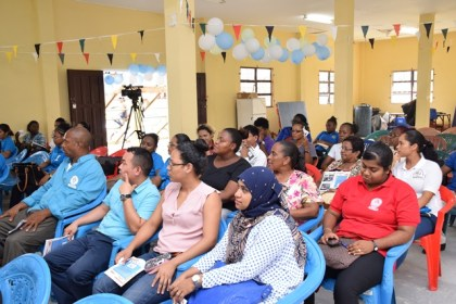 Barticians, Health workers and Vector Control Services staff at the ceremony in observance of Malaria Day in the Americas in Bartica, Region Seven