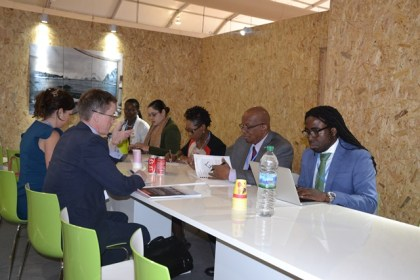 Minister of Finance, Mr. Winston Jordan along with the Guyana technical team, during the meeting with Mr. Per Pharo, Director of the Government of Norway's International Climate and Forest Initiative, at the Norwegian Ministry of Environment.