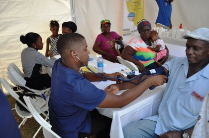 A Victoria resident benefitting from blood pressure testing at the medical outreach