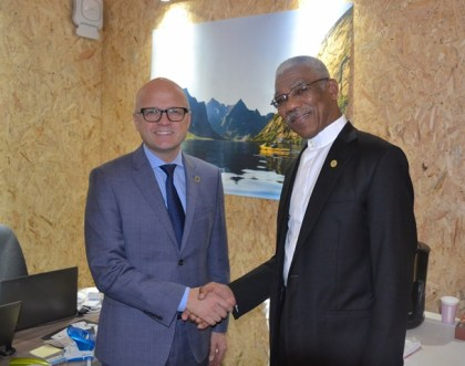 President David Granger and Minister of Climate and Environment, Mr. Vidar Helgesen of the Kingdom of Norway following their meeting, yesterday.