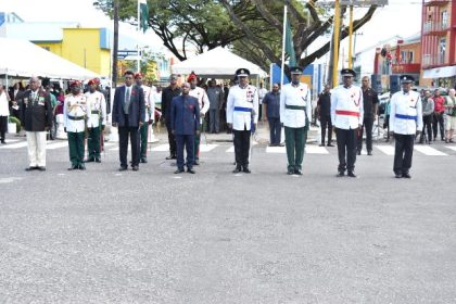 Minister of Foreign Affairs, Carl Greenidge,performing the duties of President, taking the salute at the Remembrance Day parade after the laying of wreaths at the Cenotaph.