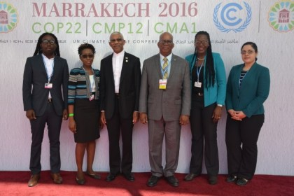 The Guyanese Delegation, from left is: Mr. Marlon Bristol, Head of the Project Management Office of the Ministry of the Presidency, Ms. Janelle Christian, Head of the Office of Climate Change, President David Granger, Minister of Finance, Honorable Winston Jordan, Mrs. Ndibi Schweirs-Ceres, Head of the Department of Environment and Ms. Khandila Ramotar, Climate Change Officer in the Office of Climate Change.