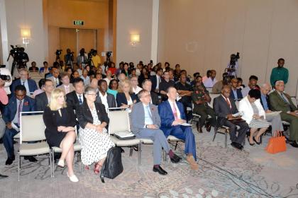 Members of Parliament from Guyana and the United Kingdom along with members of the Diplomatic Corps at the Anti-Corruption forum