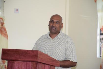 Mayor of Corriverton, Ganesh Gangadin, speaking at the recent local government forum at the Central Corentyne Chambers of Commerce in Corentyne, Berbice