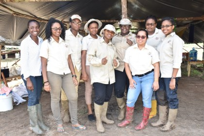 Minister within the Ministry of Natural Resources Simona Broomes (center) with female mining officers from the Guyana Geology and Mines Commission's, Geological Survey Unit at a geological mineral survey in the Itaballi Area, Region Seven.