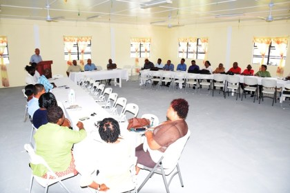 Minister of Communities, Ronald Bulkan addressing the Mayors, Deputy Mayors and councillors of Rose Hall, Corriverton and New Amsterdam at an engagement at the Central Corentyne Chambers of Commerce building