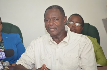 Guyana Bauxite and General Workers Union (GB&GWU) Representative Lincoln Lewis addressing the media