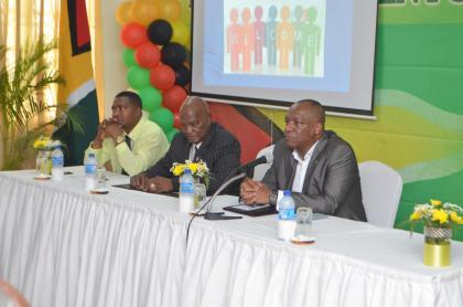 From left to right: Permanent Secretary of the Department of Public Service Reginald Brotherson, Senior Executive Director of the  Public Service College Col. Rt'd. Bertram Collins, Lawrence Paul, and Minister of State, Joseph Harmon