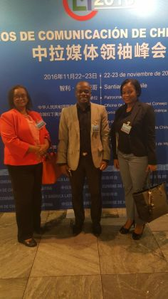 The Guyana delegation at the Summit. From left to right: Director of the Government Information Agency, Beverley Alert; Editor- in- Chief of Guyana Chronicle, Nigel Williams, and Editor at the National Communications Network (NCN), Onika Jones