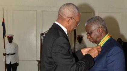 President David Granger conferring the order of Roraima on Prime Minister of Barbados, Freundel Stuart