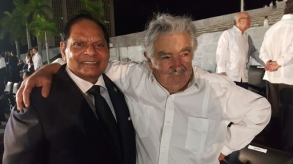 Prime Minister Moses Nagamootoo with the Former Uruguayan President Jose Mujica