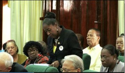 Minister within the Ministry of Communities, Valerie Adams-Patterson during her presentation in support of Budget 2017