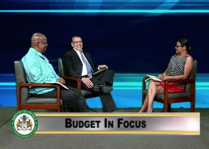 Finance Minister Winston Jordan during the programme 'Budget in focus' aired on the National Communications Network. Commissioner General of the Guyana Revenue Authority, Godfrey Statia was also part of the programme.