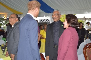 Prince Henry of Wales greeting President David Granger and First Lady, Ms. Sandra Granger at the Toast to the Nation event.