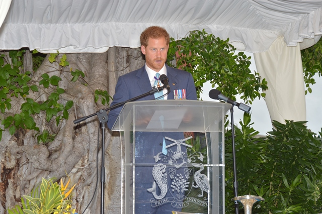 Prince Henry of Wales delivering Queen Elizabeth II's message on the occasion of the 50th Anniversary of Independence of Barbados at the Toast to the Nation event