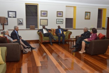 President David Granger and First Lady, Mrs. Sandra Granger during an informal meeting with Prime Minister Freundel Stuart at Barbados Defence Force Headquarters at St. Ann's Fort. Also present at the meeting was Sir Garfield Sobers.