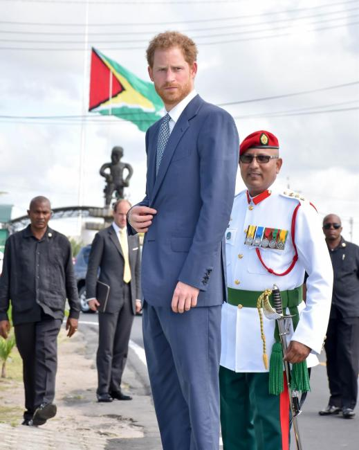 Prince Harry at Guyana's National Independence Monument, on Brickdam, more commonly described as the Independence Arch