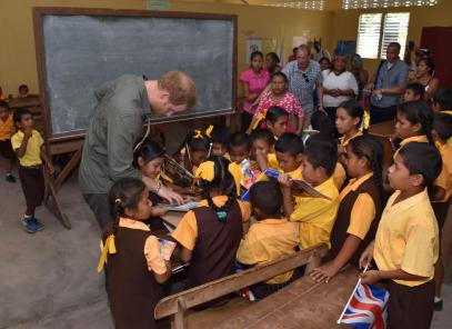 Prince Harry donates books to Fairview students