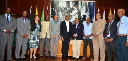 President David Granger, Prime Minister Moses Nagamootoo and Minister of Communities Ronald Bulkan with the mayors of the nine municipalities