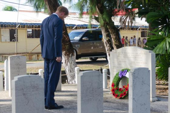 Prince Harry after laying a wreath at the Commonwealth War Memorial graves