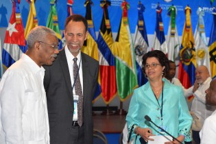 President David Granger with Ambassador Colin Granderson, Assistant Secretary General of the Caribbean Community (CARICOM) and Director General at the Ministry of Foreign Affairs, Ambassador Audrey Waddell at the Fifth Summit of Heads of State and Government of the Community of Latin American and Caribbean States (CELAC).