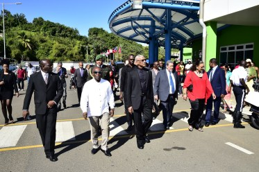 President David Granger and Minister of Foreign Affairs, Mr. Carl Greenidge with Prime Minister Ralph Gonsalves touring the exterior of the Argyle International Airport