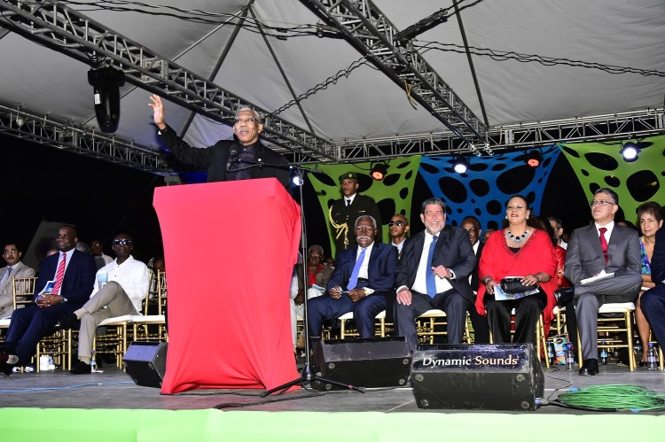 President David Granger delivering an address on behalf of Guyana and the Caribbean Community (CARICOM)