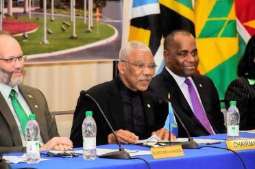 Chairman of CARICOM, President David Granger delivering his address at the opening of the Twenty-Eighth Inter-Sessional Meeting of the Conference of Heads of Government of the Caribbean Community, earlier today, at the Marriott Hotel Guyana.