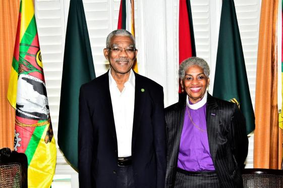 President David Granger and Bishop Dr. E. Anne Henning Byfield at State House