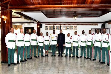 President David Granger and Chief of Staff of the Guyana Defence Force, Brigadier Patrick West with the newly-commissioned officers